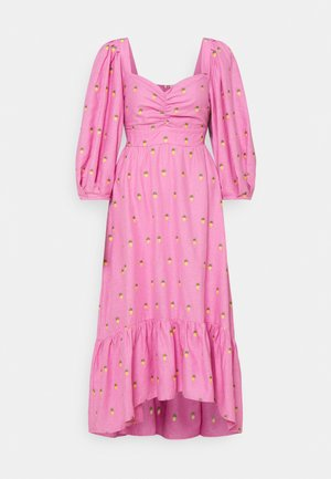 EMBROIDERED PINEAPPLES MIDI DRESS - Day dress - pink