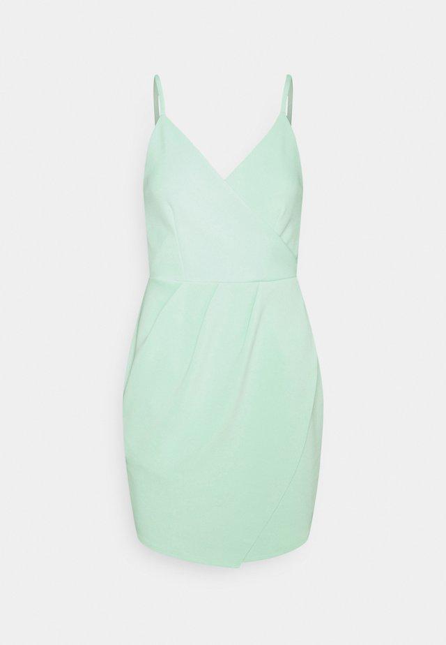 WRAP PLEATED MINI DRESS - Shift dress - mint
