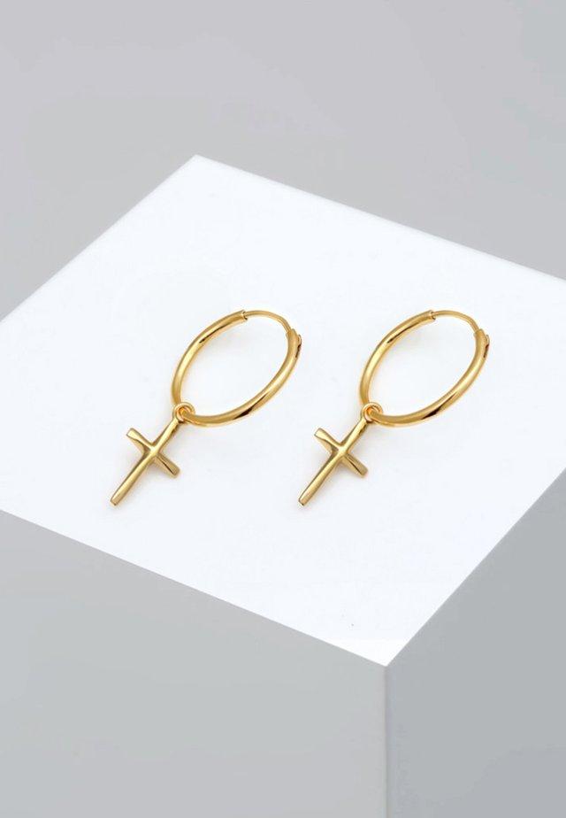 HOOPS CROSS - Earrings - gold-coloured