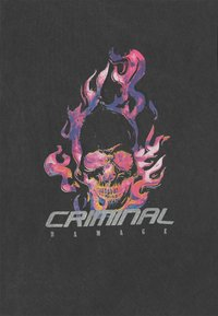 Criminal Damage - FLAMIN SKULL  - T-shirt print - black - 2