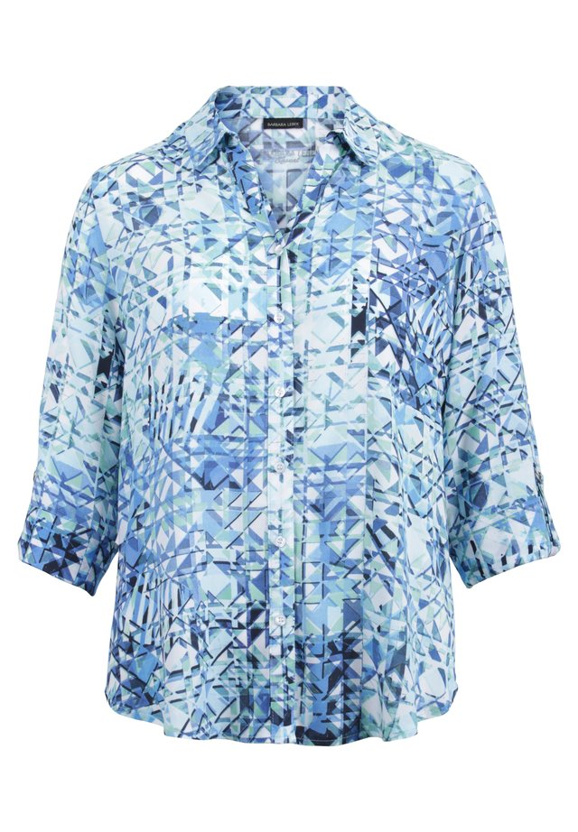 MIT KREMPELÄRMEL - Button-down blouse - bleu/ grün