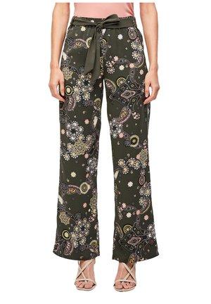 Trousers - khaki ornamental print