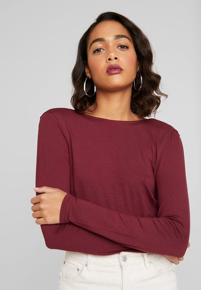 DEEP BACK - Bluzka z długim rękawem - burgundy