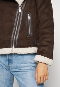 ONLY - ONLDIANA BONDED AVIATOR JACKET - Faux leather jacket - black coffee/white - 6