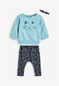 Next - CHARACTER/FLORAL SWEAT TOP, LEGGINGS AND HEADBAND - Sweatshirt - blue - 0