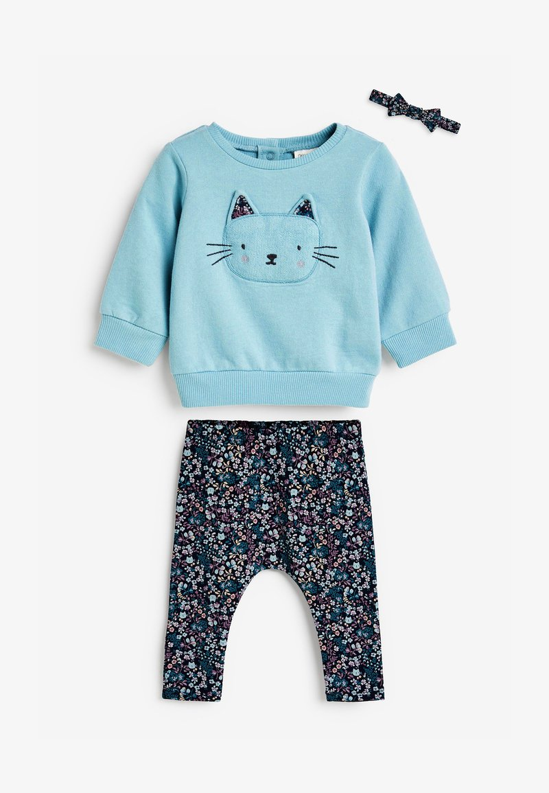 Next - CHARACTER/FLORAL SWEAT TOP, LEGGINGS AND HEADBAND - Sweatshirt - blue