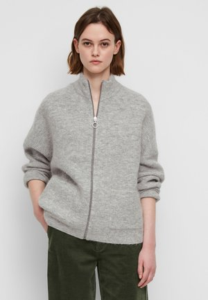 LONG SLEEVE CARDIGAN WITH ZIPPER AND STAND COLLAR - Cardigan - stone melange