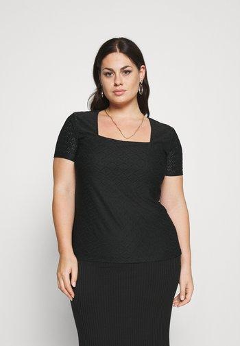 Stickerei Basic T-shirt - T-shirts - black