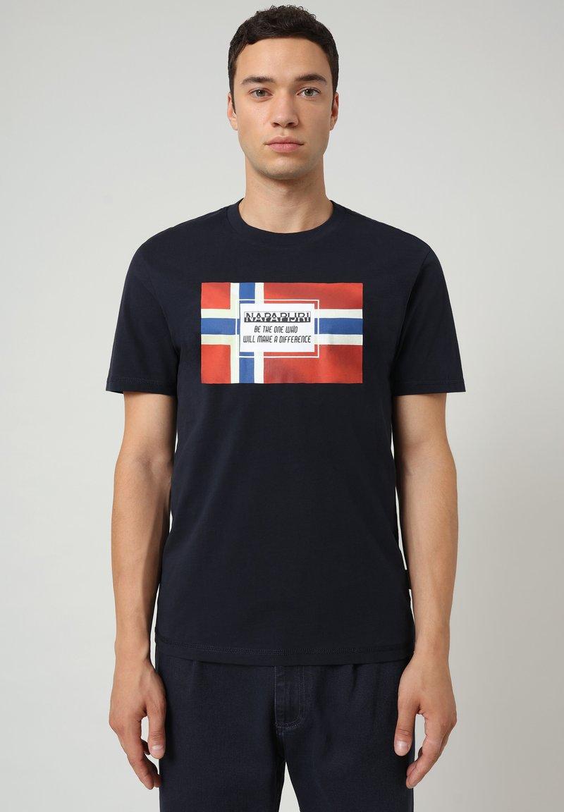 Napapijri - SERA - T-shirt med print - blu marine