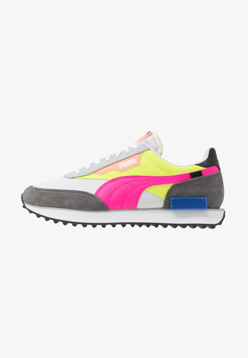 Puma - FUTURE RIDER PLAY ON UNISEX - Trainers - white/castlerock/yellow alert