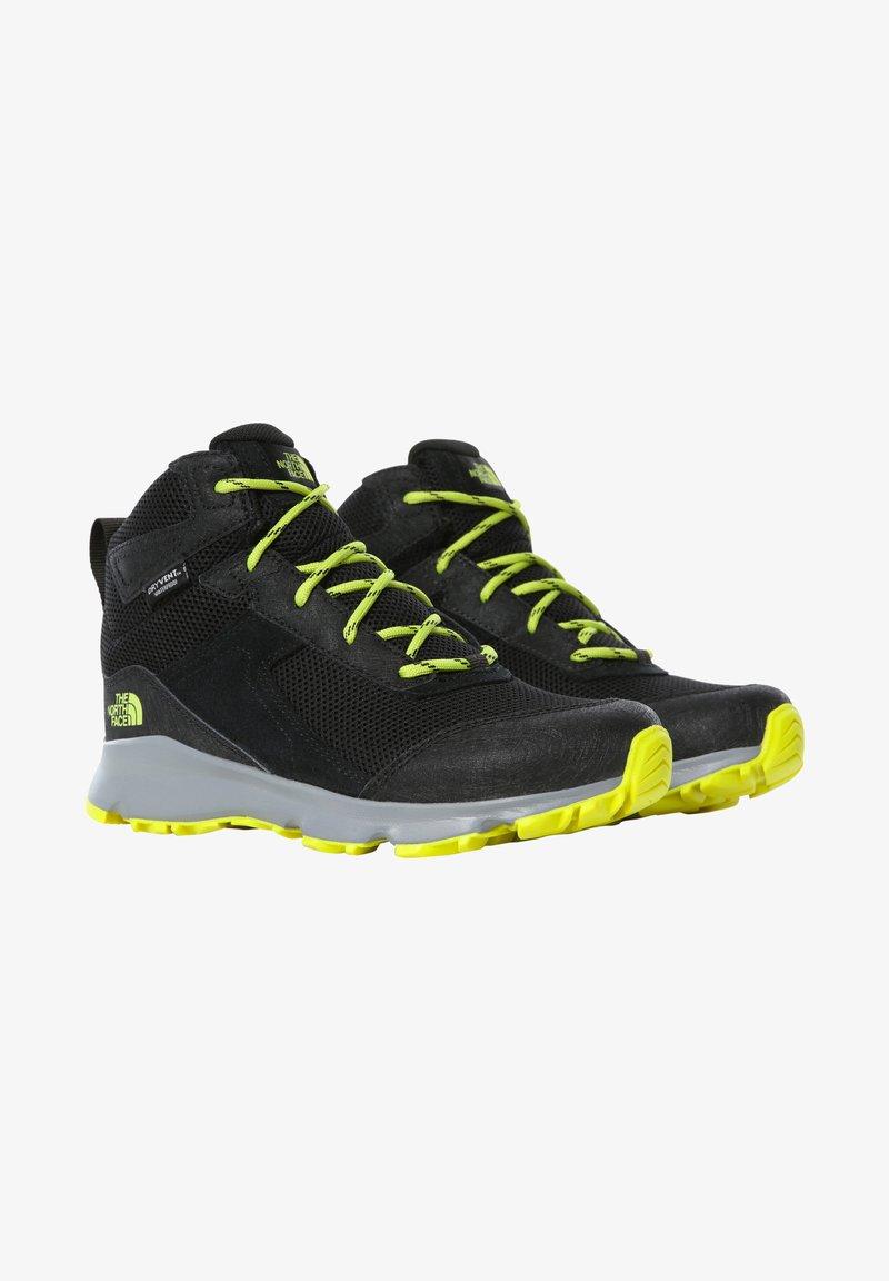 The North Face - JR HEDGEHOG HIKER II MID WP - Hiking shoes - tnfblack/sulphurspringgrn