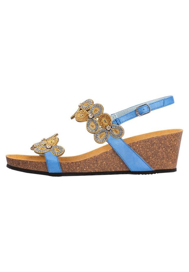 Sandalen met sleehak - azurblau