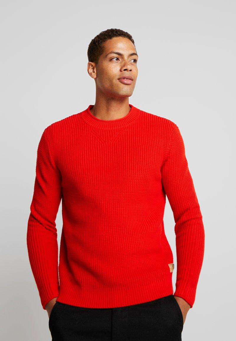TOM TAILOR - FISHERMAN CREW NECK  - Stickad tröja - orange red