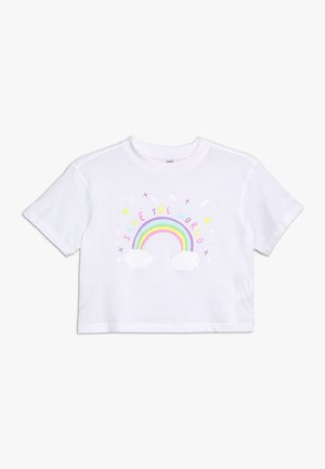 SAVE THE WORLD CROPPED TEE - T-shirt con stampa - white