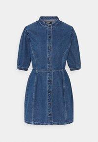 CINCHED WAIST BALLOON SLEEVE DRESS - Denim dress - blue