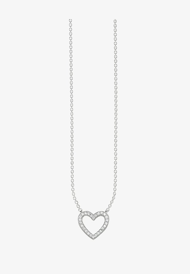 HERZ - Necklace - silver-coloured/white