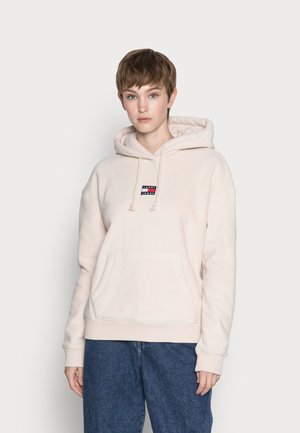 CENTER BADGE HOODIE - Sweat à capuche - smooth stone
