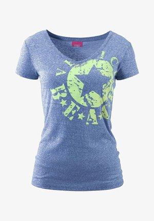 Print T-shirt - blau-meliert