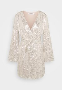 Glamorous - SEQUIN V NECK WRAP DRESS - Cocktail dress / Party dress - nude/silver - 0