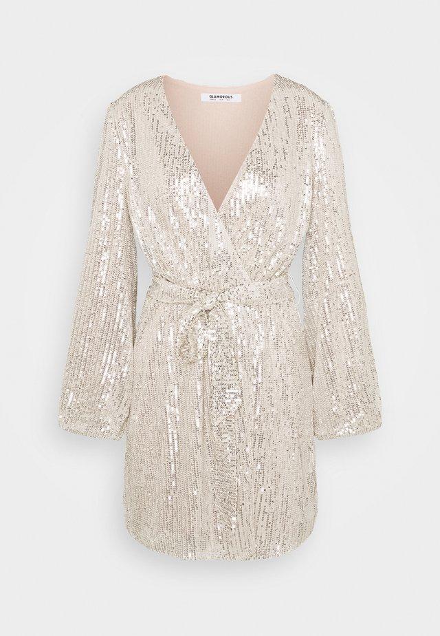SEQUIN V NECK WRAP DRESS - Cocktail dress / Party dress - nude/silver
