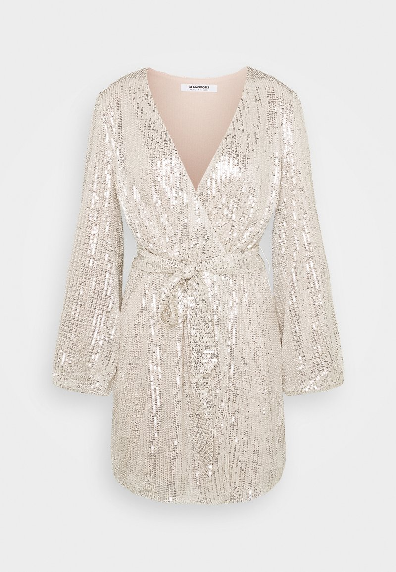Glamorous - SEQUIN V NECK WRAP DRESS - Cocktail dress / Party dress - nude/silver