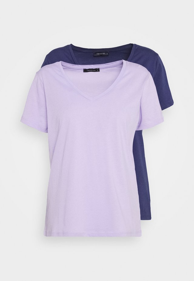 2 PACK - Basic T-shirt - lilac/dark blue