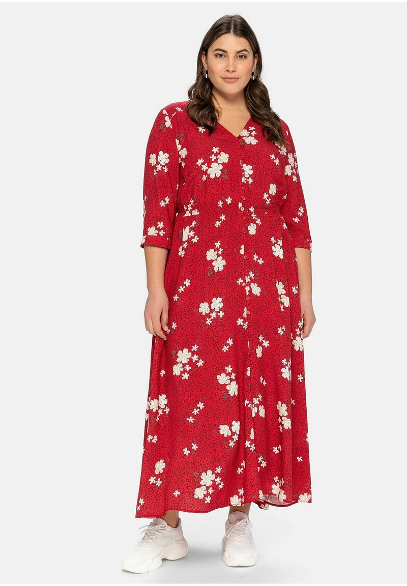 Sheego - Maxi dress - rot bedruckt