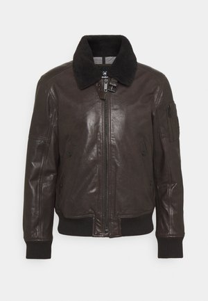 ASTANO - Leather jacket - chocolate brown