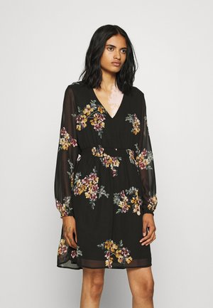 VMALLIE SHORT SMOCK DRESS - Day dress - black/allie yellow