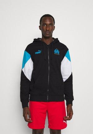OLYMPIQUE DE MARSEILLE HOODY - Zip-up sweatshirt - black/bleu azur