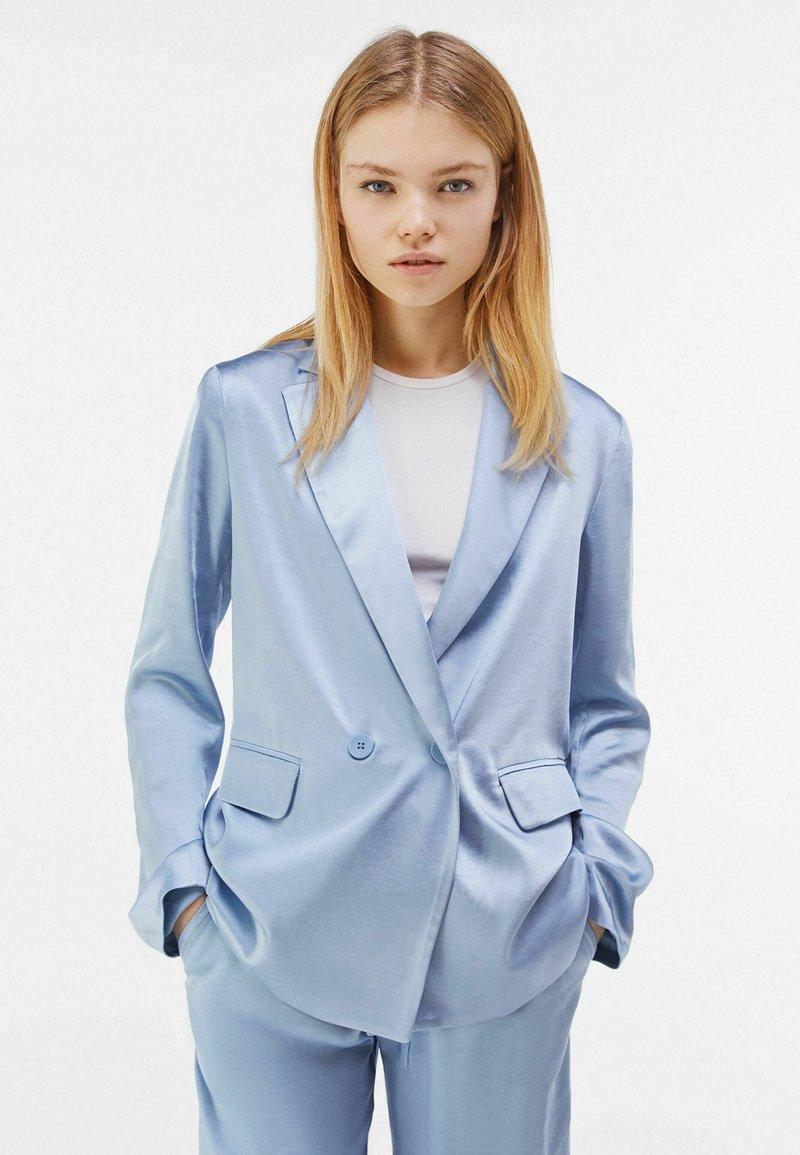 Bershka - Blazer - light blue