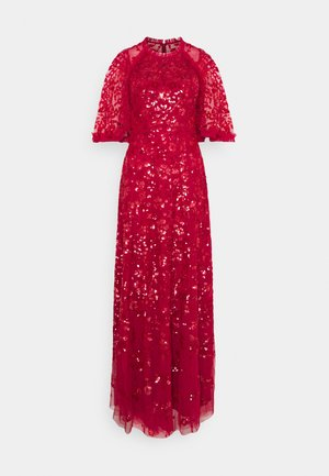 SEQUIN RIBBON GOWN - Occasion wear - deep red