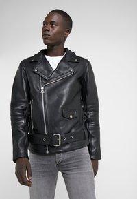 Bruuns Bazaar - FELIX JACKET - Leather jacket - black - 3
