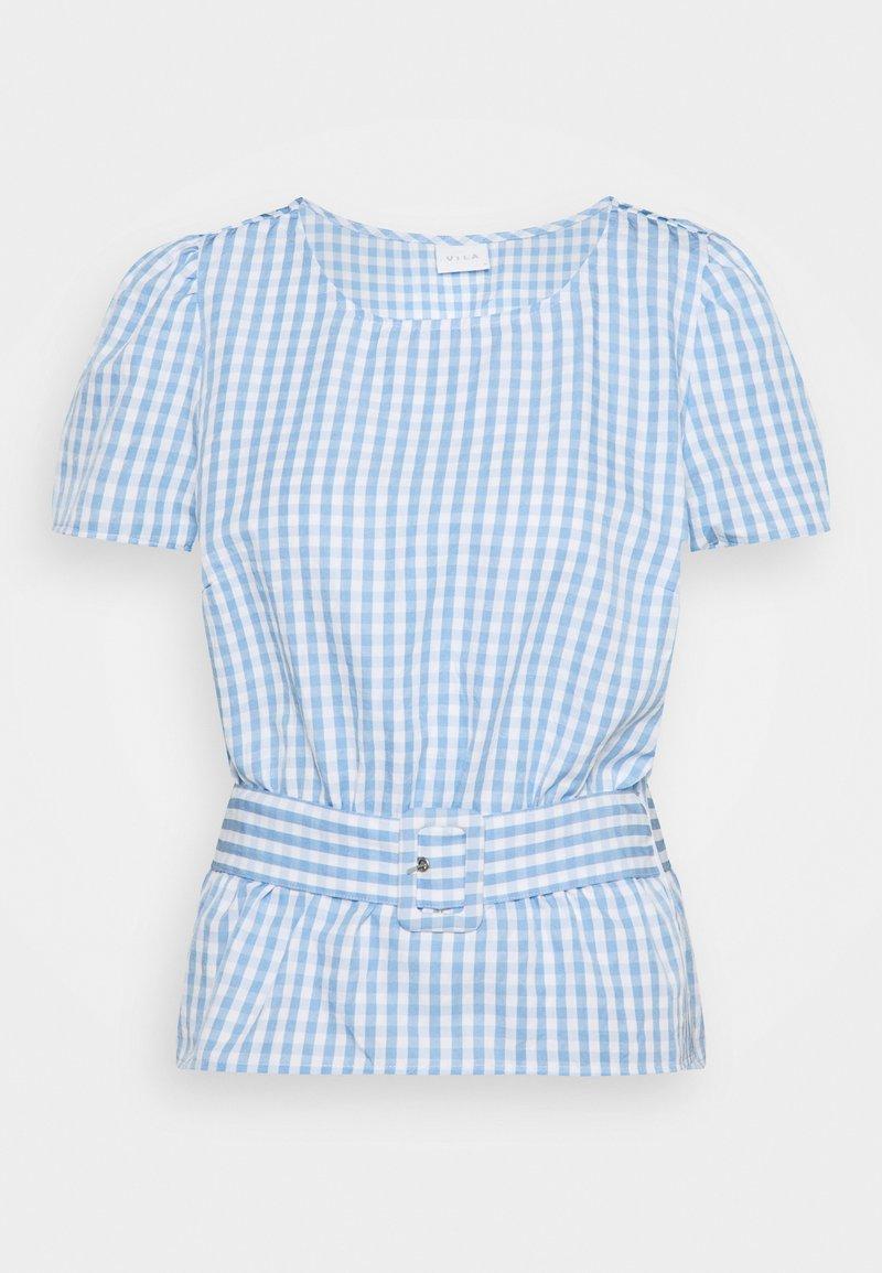 Vila - VIGRIMDA BELT - Print T-shirt - blue/white
