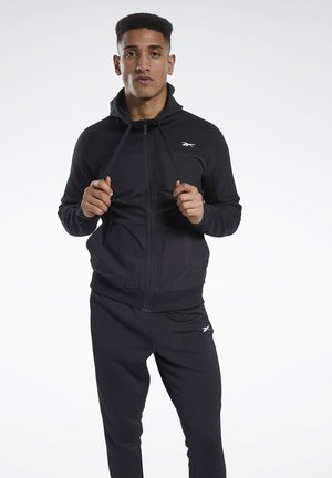 KNIT-WOVEN FULL-ZIP HOODIE - Collegetakki - black