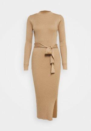 TIE WAIST MIDI DRESS - Shift dress - camel