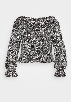 PLUS SIZE DALMATION PEPLUM BLOUSE - Blůza - black