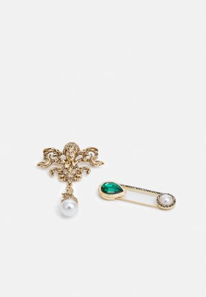 RHINESTONE SAFETY PIN BROOCH / CHERUB PEARL DROP BROOCH UNISEX - Other - gold-coloured