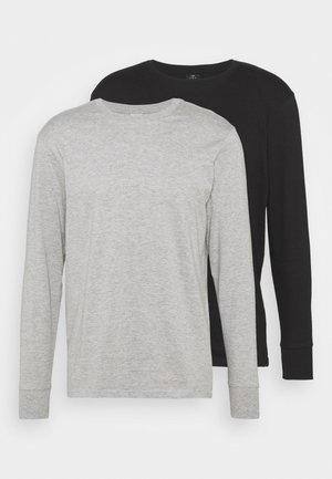 LONG SLEEVE 2 PACK - Long sleeved top - black/grey marle