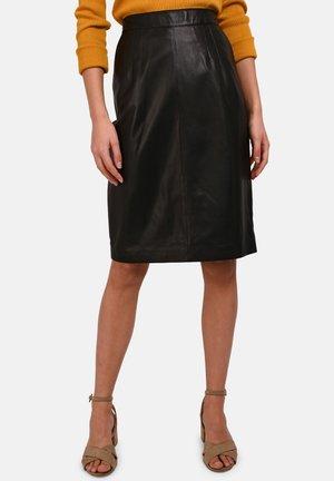 ENORA - Leather skirt - black