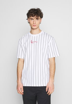 SMALL SIGNATURE PINSTRIPE TEE UNISEX - Print T-shirt - white/black