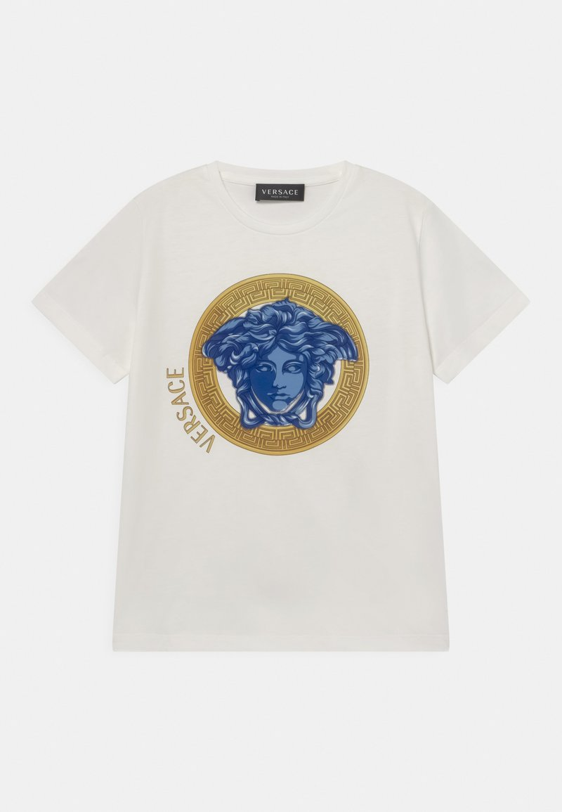 Versace - MONO MEDUSA AMPLIFIED UNISEX - Print T-shirt - white/blue/oro