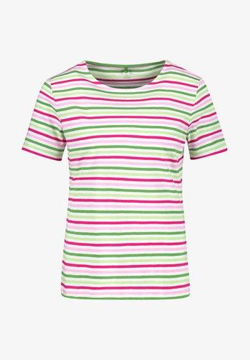 Print T-shirt - lila pink grün ringel