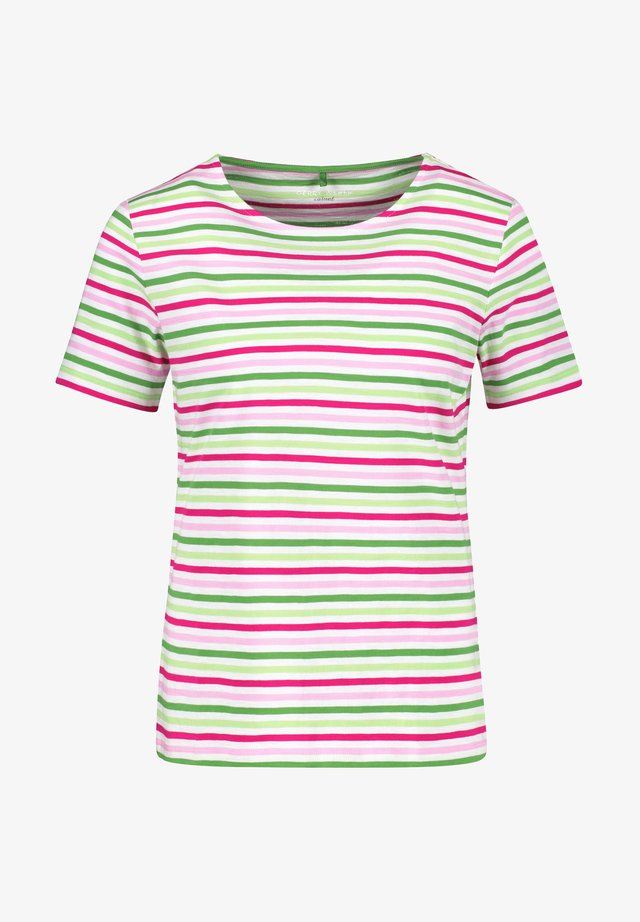 T-shirt print - lila pink grün ringel