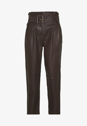 MANHATTAN LUXURY  PANTS - Leren broek - coffee