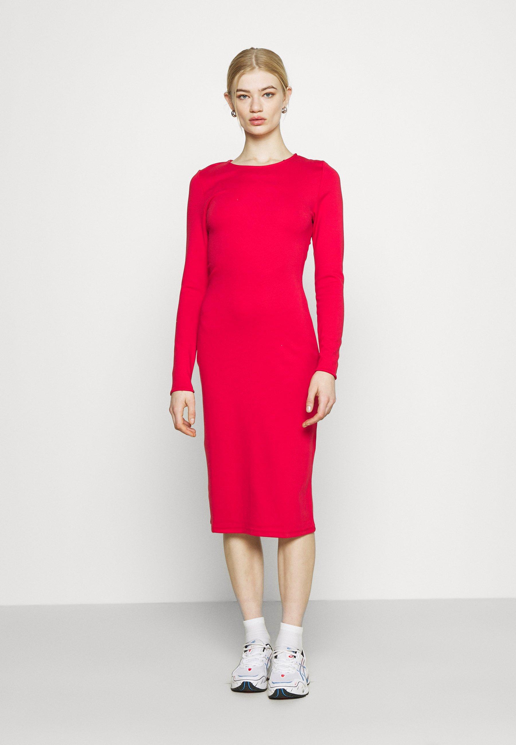 Women PLUNGE BACK NECK MIDI DRESS - Jersey dress