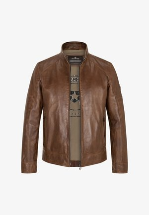 URBAN - Leather jacket - cognac