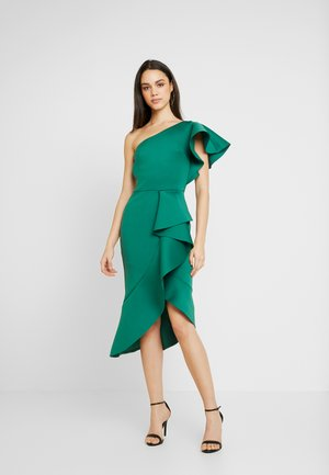 TRUE ONE SHOULDER DRESS WITH FRILL DETAIL - Sukienka koktajlowa - green