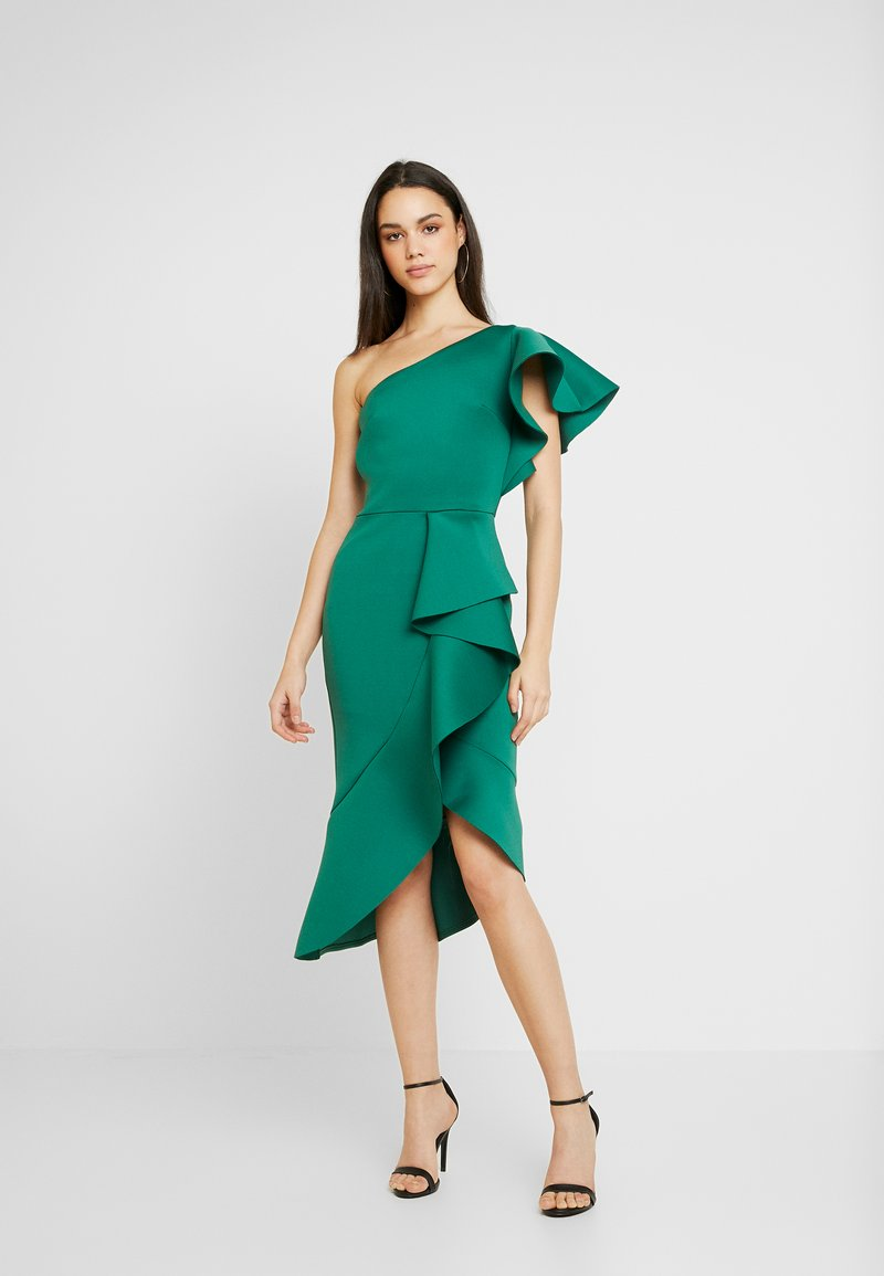 True Violet - TRUE ONE SHOULDER DRESS WITH FRILL DETAIL - Cocktail dress / Party dress - green