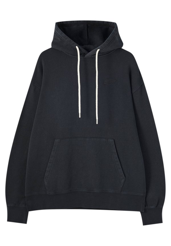 PULL&BEAR Bluza z kapturem - black/czarny Odzież Męska CRFN